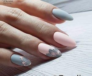 nails, pink, and grey image