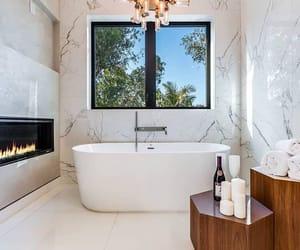 bathroom, bathtub, and champagne image