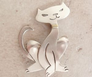 vintage brooch, cat brooch, and sterling silver brooch image
