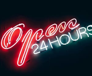 open 24 hours, 24 hours neon, and white red neon sign image