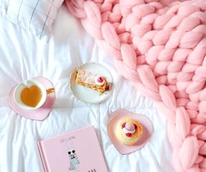 pink, book, and pastry image