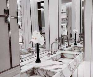 bathroom, marble, and mirror image