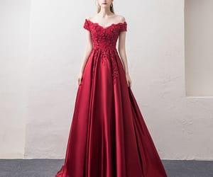 evening dress, fashion, and burgundy dress image