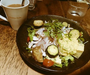 cofee, salad, and luch image