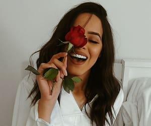 girl, rose, and brunette image