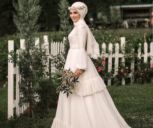 hijab and wedding dress image