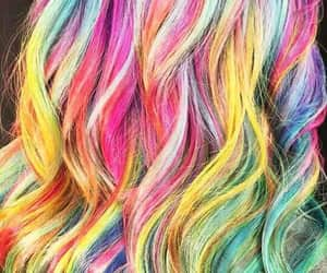 colorful, hair, and rainbow image