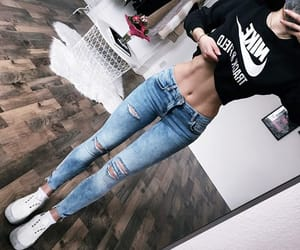 jeans, nike, and sweat-shirt image