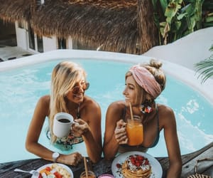 girl, summer, and food image