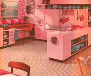kitchen, pink, and retro image