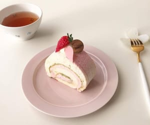 pink, strawberry, and cake image