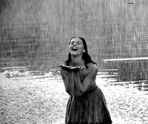 rain, happy, and black and white image