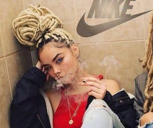 smoke, girl, and hair image