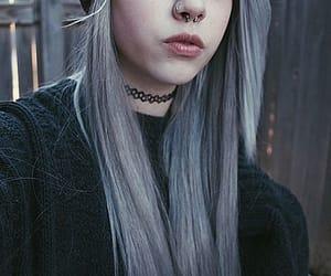 emo, grey hair, and girl image