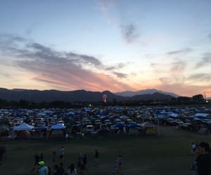 camp, mountains, and sunset image
