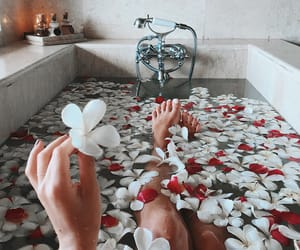 bath, red, and relax image