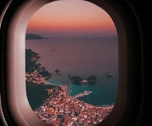 airplane, sky, and city image