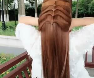 girl, long hair, and peinado image