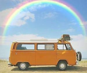 rainbow, beach, and hippie image