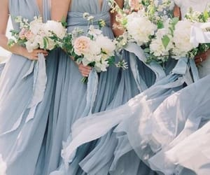 blue, bouquet, and bridesmaid image