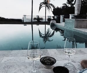 pool, wine, and summer image