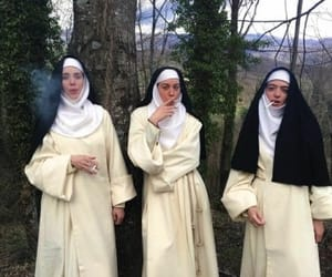 nun, smoke, and grunge image