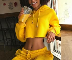 clothes, yellow, and baddie image