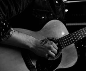 b&w, guitar, and hands image