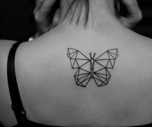 b&w, butterfly, and tattoo image