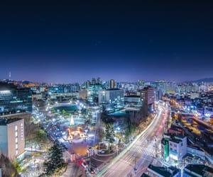 city, korea, and lights image