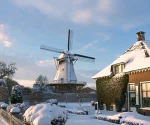 netherlands, snow, and travel image