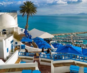 Bleu, sidi bou said, and plage image