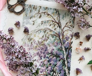 embroidery, flowers, and scissors image