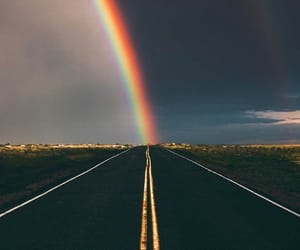 rainbow and street image