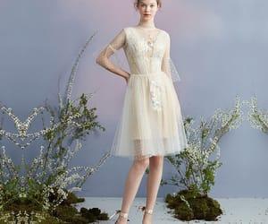 fashion, champagne dress, and knee length dress image