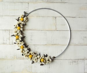 dried flowers, wall hanging, and modern wreath image