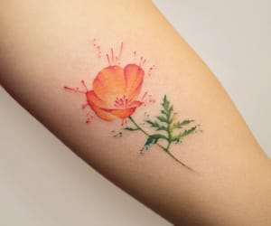 tattoo, flower, and orange image