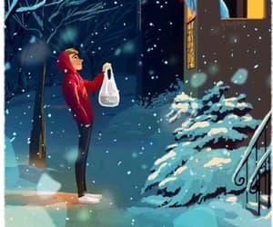 boy, sick, and snow image