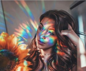 photography, girl, and rainbow image