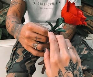 couple, tattoo, and rose image