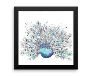 blue purple, wall art, and peacock print image