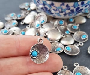 etsy, silver charm, and pale blue image