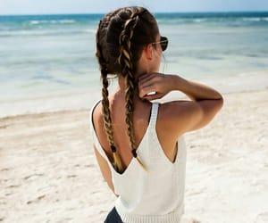 beach, summer, and braids image
