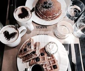 food, coffee, and pancakes image