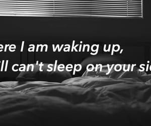 bed, black and white, and Lyrics image