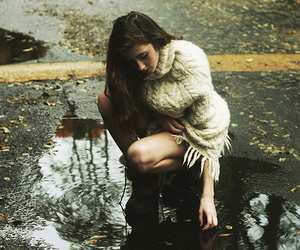 autumn, blonde, and puddle image
