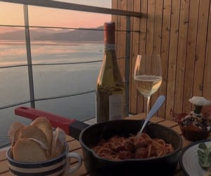 food, sunset, and wine image