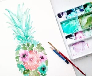 art, pineapple, and flowers image