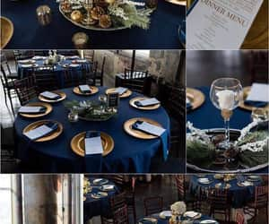 chair, blue theme, and wedding goals image