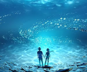 anime, fish, and ocean image